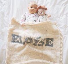 Cream blanket & light gray name – LovingYarn Knitted Baby Blankets, Cozy Blankets, Dark Grey Color, Gray, Big Beds, Personalized Baby Blankets, Baby Names, Bag Storage, Baby Knitting