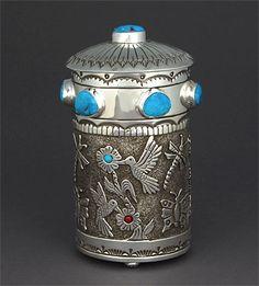 Sampson Gray (Navajo). Silver & Turquoise Box. Native American artist. #nativeamerican