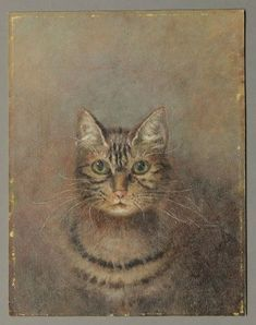 American primitive cat portrait.
