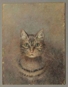 American primitive cat portrait.