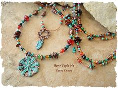 Bohemian Jewelry Rustic Layered Necklace Hand by BohoStyleMe.Turquoise, Carnelian, Malachite, Ocean Jasper, shell discs, copper glass beads, copper spacers and many glass seed beads. 29 inches, with a 1 inch pendant (longest strand). Shorter stand 24 inches, with a 1 ¼ inch pendant.
