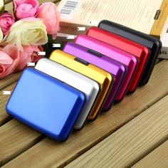 6 slots High Quality Business ID Credit Card Holder Wallet Pocket Case Aluminum Metal Shiny Side Anti RFID scan Cover Hot Bags Travel, Travel Cards, Purse Holder, Id Holder, Key Holders, Card Holders, Bank Card, Credit Card Wallet, Credit Cards