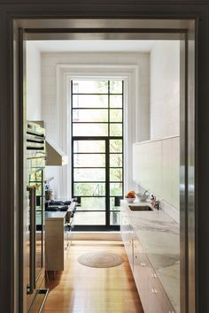 A steel frame door brings light into Remodelista co-founder Francesca Connolly's Brooklyn Heights kitchen. Photograph by Matthew Williams for Remodelista. Steel Windows, Windows And Doors, Retro Appliances, Home Appliances, Viking Appliances, Electrical Appliances, Small Appliances, New Furniture, Furniture Making