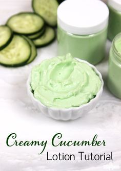 This easy to make Cucumber Lotion Recipe contains cucumber extract to soothe and hydrate the skin.