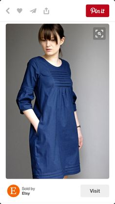 """inspiration for a pin-tucked Liesl + Co Cinema Dress (women) or an Oliver + S Hide-and-Seek Dress (kids) """"Etsy の Martha Cotton Day Dress by Sempster"""", """" Linen Dresses, Cotton Dresses, Day Dresses, Cute Dresses, Simple Dresses, Casual Dresses, Casual Outfits, Kurta Designs, Blouse Designs"""