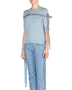 FENDI RIBBON-STITCHED CASHMERE SWEATER. #fendi #cloth #