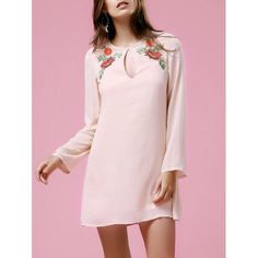 Casual Women's Long Sleeve Round Neck Floral Embroidery Dress