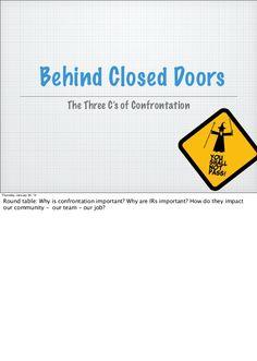 Steps for Confrontation - Resident Assistant Training by Kate Nickelchok via slideshare