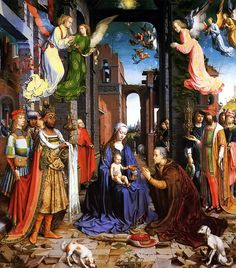The Adoration of the Kings, Jan Gossaert, 1510-15. National Gallery, London. For two centuries the basic theme of the Magi story is maintained but the increased level of sophistication and complexity is evident in this painting by Jan Gossaert.  The barn has become a ruined palace, but everyone is well dressed. Mary, rather than the wife of a poor carpenter, is dressed as the queen of heaven.