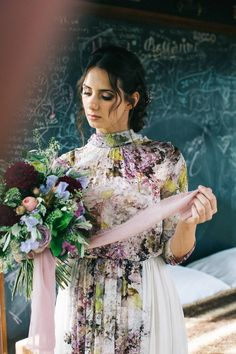 Floral Print Wedding Dress by Anna Fuca - Floral Print Wedding Dress by Anna Fuca | Tuscan Treehouse Bridal Inspiration Shoot | Images by Stefano Santucci