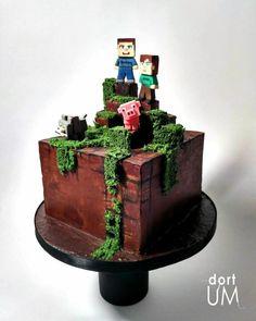 Minecraft by dortUM Minecraft Birthday Party, Birthday Cake, Birthday Parties, Bolo Minecraft, Minecraft Ideas, Chocolate Ganache Cake, Cupcake Flavors, 3d Cakes, Amazing Cakes