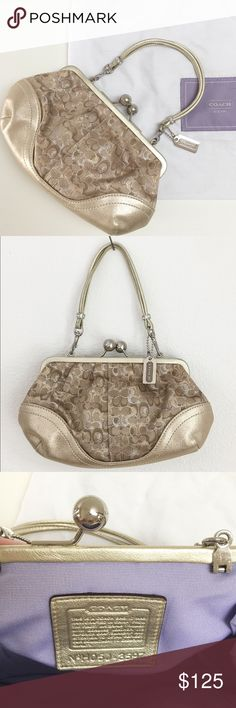 """Coach Metallic Lurex Clutch Like new! Coach twist lock clutch with removable strap. Metallic logo print with gold leather trim and strap. Silver hardware with contrasting lilac lining. At base bag measures 8.5"""" x 3"""" and 5"""" height. Strap drop is 4"""". Used for 1-2 weddings, no signs of wear at all. Easily holds phone or camera, lipstick and keys. Coach Bags Clutches & Wristlets"""