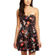 Express Floral Cotton Sateen Strapless Fit And Flare Dress (€53) ❤ liked on Polyvore featuring dresses, outfits, vestidos, black floral, floral skater skirt, express dresses, strapless floral dress, fit and flare dress and skater skirt