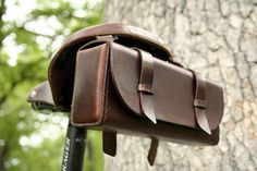 Leather Bike Tool Bag Dark Brown by JepsenLeatherGoods on Etsy Leather Pouch, Leather Tooling, Leather Men, Green Leather, Leather Bicycle, Bicycle Bag, Bicycle Accessories, Leather Accessories, Tweed Ride