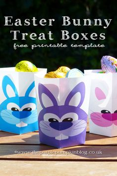 The Purple Pumpkin Blog: Here Come The Easter Bunnies Treat Boxes [Free Printables]