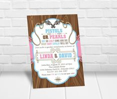 Pistols or Pearls Gender Reveal Party Invitation Gender Reveal Party Invitations, Party Invitations Kids, Personalized Invitations, Printable Invitations, Baby Shower Invitations, Pistols Or Pearls, Quick Print, Reveal Parties
