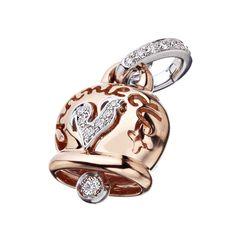 Campanelle - 26712 - Ciondolo medio in oro rosa, diamanti e gallo in pavé di diamanti