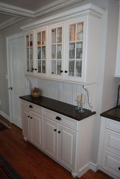 I need THIS! Maybe 6 cabinets wide, instead of - Kitchen Pantry Cabinets Free Standing Kitchen Cabinets, Kitchen Cabinets, Kitchen Plans, Kitchen Remodel, Kitchen Stand, New Kitchen, Kitchen Redo, Home Kitchens, Kitchen Renovation