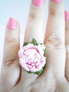 Pink Peony Ring  Tangerine Jewelry  Polymer Clay Rings