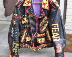 These are hand painted Vintage Leather Punk Rock Jackets With