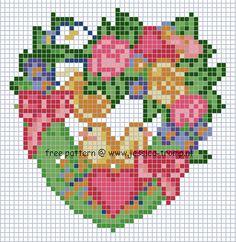 Flower wreath with birds perler bead pattern