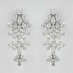 Find clip on wedding earrings and CZ bridal earrings in bridal chandelier earring styles.  Fabulous earrings for nights out & black tie affairs.
