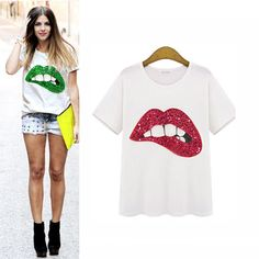 New Fashion Summer Women Lips Handmade Sequin Cotton T-shirt Clothes - T-Shirts - Women's Clothing - Clothing,Shoes & Accessories -Free Shipping for all to over 200 countries on Malloom.com