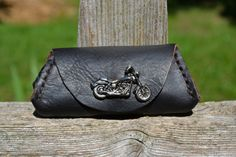 Hand stitched bison leather coin purse  Motorcycle by KeyToStyle