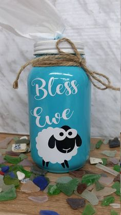 Bless Ewe Mason Jar Tissue Holder Sheep Teal Twine Home Decor Mothers Day Vinyl Crafts, Jar Crafts, Cute Crafts, Bottle Crafts, Crafts To Make, Mason Jars, Mason Jar Gifts, Diy Projects To Try, Craft Projects