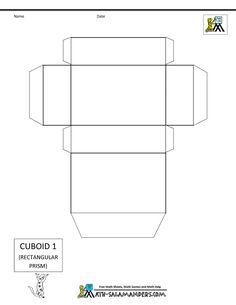 3d geometric shapes cuboid net 1 tabs