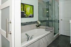 Bathroom Glass Tile Mosaics & Marble Tile Northern Virginia   Conestoga Tile #glassmosaic #largeformattile #greybathroom #blackbathroom #tile