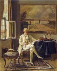 Lesender Edelmann in einem venezianischen Palast