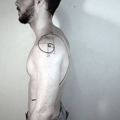 Shoulder And Rib Cage Mens Fibonacci Spiral Black Line Tattoo