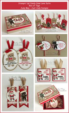 Stampin' Up! - Box of Tags with Candy Cane Lane Suite - Judy May, Just Judy Designs