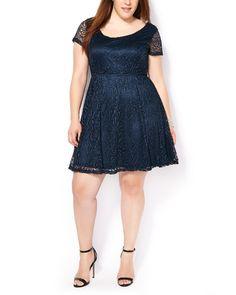 Short Sleeve Fit and Flare Lace Dress #penningtons #plussizefashion