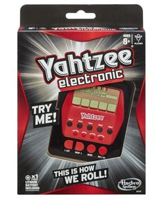 Roll the digital dice and rack up the scores in this addictive, fast-action electronic Yahtzee game! To win this portable, on-the-go dice game, you have to score against the combos on the screen. Keep rolling the dice to get the highest score you can! You'll be the dice champion on the go with your electronic Yahtzee game!