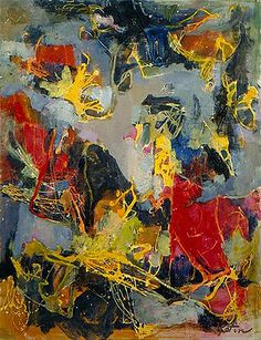 Albert Kotin, Predators, 1951. Oil on canvas, 36 x 28 inches. This painting was exhibited at the famous 9th Street Art Exhibition, (9th St. Show) in May 21-June 10, 1951.