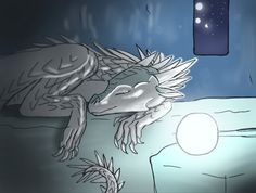Moonlit slumber by KenyaJoy on DeviantArt Wings Of Fire Dragons, Cool Dragons, Amphibians, Reptiles, Drawing Sketches, Art Drawings, Dragon Drawings, Fire Fans, Mythical Creatures Art