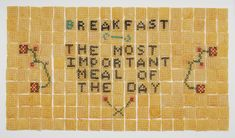 cereal sampler #2: the most important meal by judith klausner. chex corn cereal and thread. 2010. #embroidery