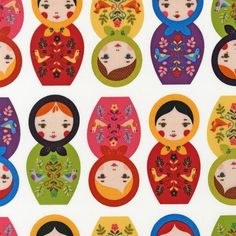 MOD Colorful Russian NESTING DOLLS Bright Doll Novelty Cotton Quilt Fabric - by the Yard