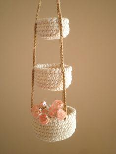 3 Stufe häkeln Körbe, Mini Hanging Baskets, Country Decor, natürlichen Hauptdekor, Cozy Home Decor, Geschenk für Frauen