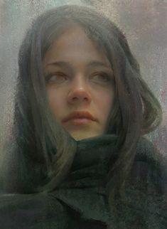 Artist: Wangjie Li {figurative realism art beautiful female head grunge woman face portrait digital painting #loveart} wangjieli.com