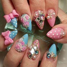 Need these kawaii nails So Nails, Diva Nails, Crazy Nails, Glam Nails, Bling Nails, Beauty Nails, Cute Nails, Hair And Nails, Pretty Nails