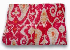 Textile Shop: OFFER ONLY 3 DAY'STwin Red Ikat Kantha quilt Text...