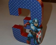 Captain America Birthday Number by LettersbyTina on Etsy Avengers Birthday, Superhero Birthday Party, 4th Birthday Parties, Boy Birthday, Birthday Ideas, Captain America Party, Captain America Birthday, Party Props, Party Themes