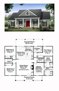 Traditional House Plan 59952 Total Living Area 1870 sq ft 3 bedrooms and 25 bathrooms The great room has gas logs as well as builtin cabinets and 10 ceilings that make i. New House Plans, Dream House Plans, Small House Plans, My Dream Home, Dream Houses, Square House Plans, House Plans One Story, Floor Plans For Houses, House Plans With Garage