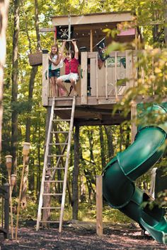 tree fort with flying fox and slide