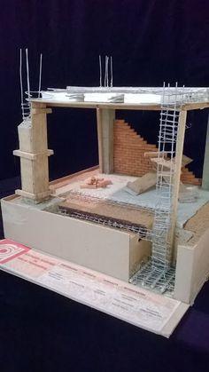 Schematic View of Construction Details Building Foundation, House Foundation, Civil Engineering Construction, Construction Design, Casa Bunker, Concrete Structure, Reinforced Concrete, Concrete Footings, Concrete Design