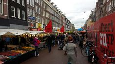 Busiest street market in the Netherlands. Monday to Saturday, 9am to 5pm. Coming from Amsterdam Central Station, you may take tram lines 4,16, 24 or 25 to get there. http://www.albertcuypmarkt.nl/ac_english.html