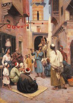 RUDOLPH WEISSE (1859) Street Entertainment, Cairo